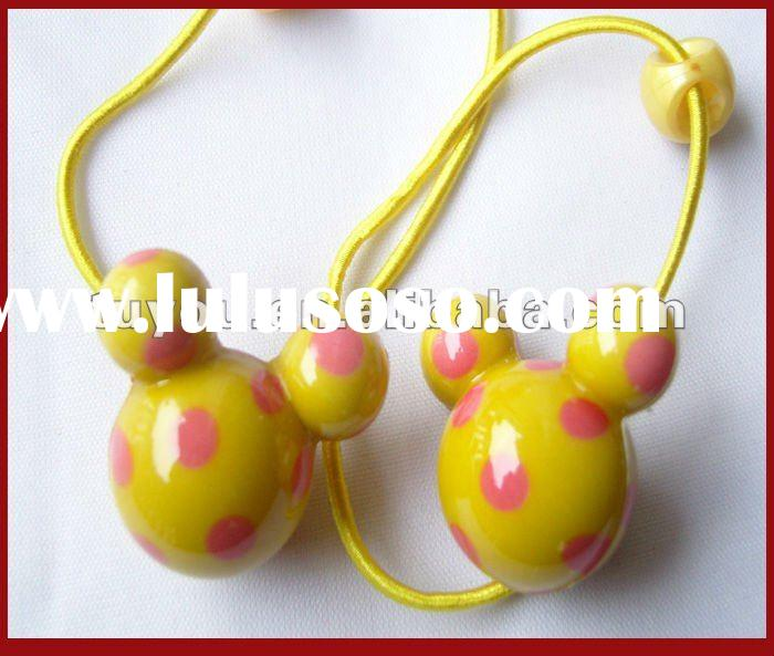 Yellow Micky Head Acylic 2012 New Fashion Hair Clip Rubber Band (TY-H1225)