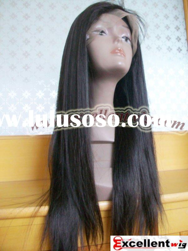 (FL-088)#2 20 inch 100% indian remy hair Silky straight full lace wig in stock