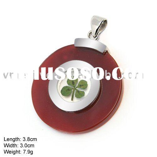 [PFB-0925B] 925 Silver Jewelry, Sterling Silver Lucky Pendant with with Real 4-Leaf Clover and Agate