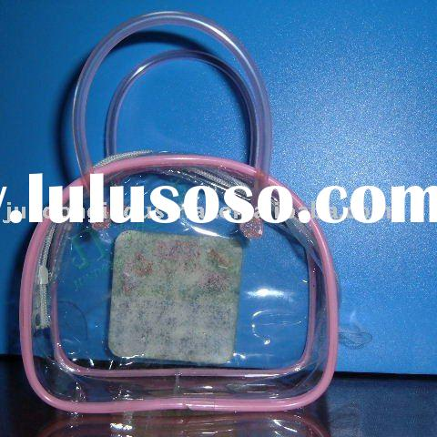 #U7031 PVC clear cosmetic bag with PVC pipe handle and pink pipe trim