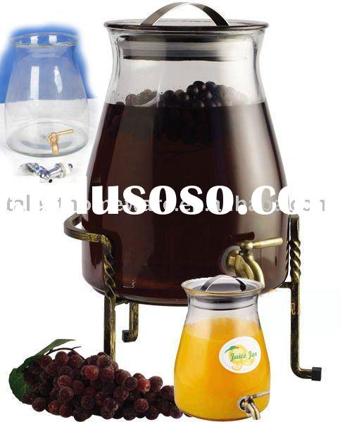 big size 4L airtight storage juice dispenser clear glass jar with spout, coffee tea sugar biscuit sn