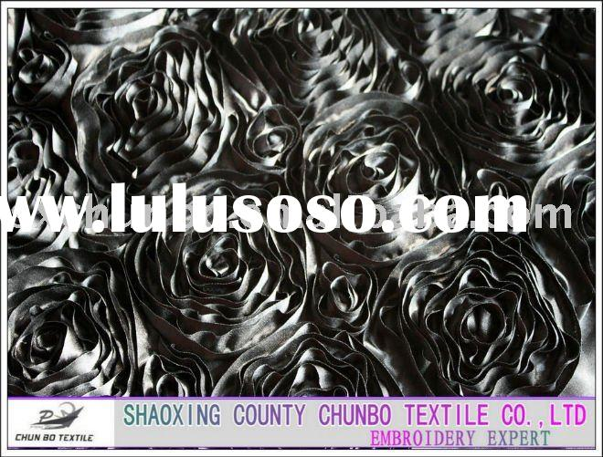 black color rose design for gamrent ribbon embroidery fabric