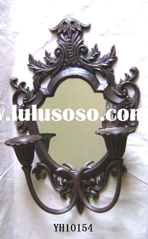 cast iron mirror with candle holder