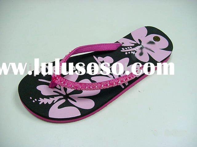 cheap printing pvc flip flops for women
