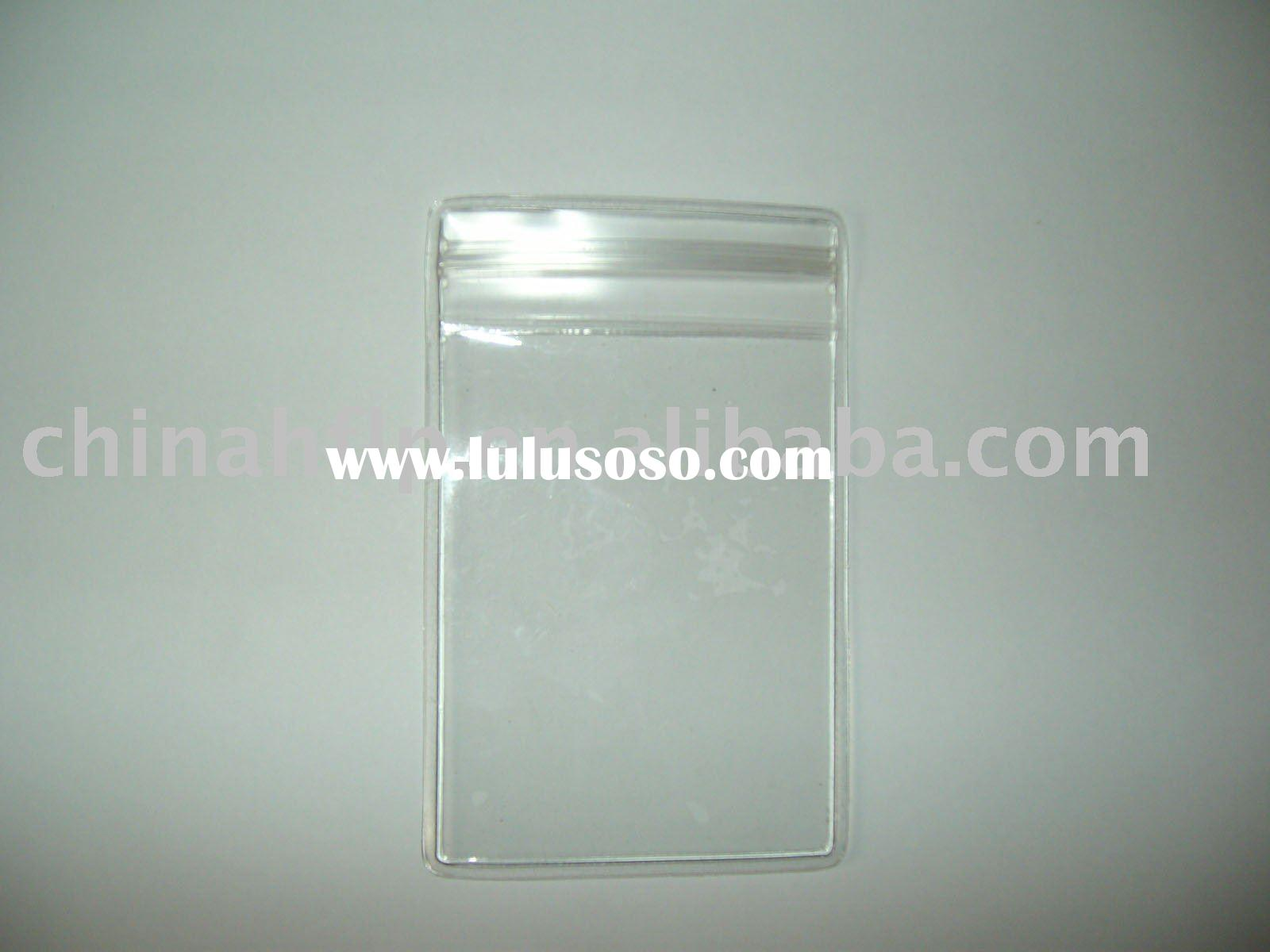 clear soft plastic waterproof vertical badge id card holder