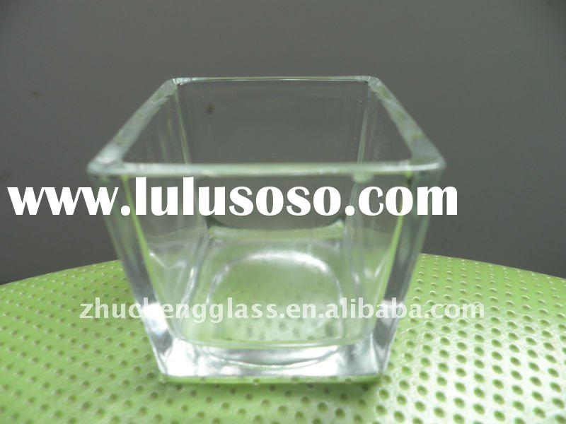 clear square glass candle holder