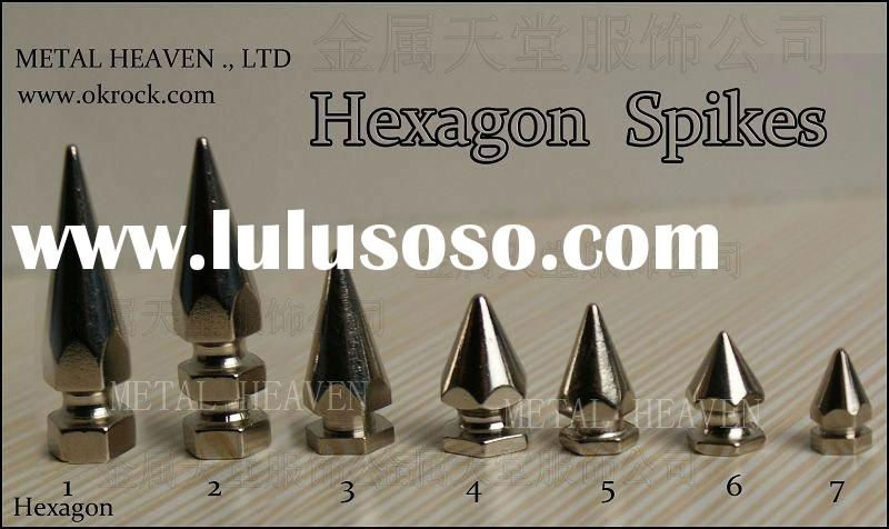 color hexagon brass spikes black/white/blue/green/red/pink/purple/silver/gold
