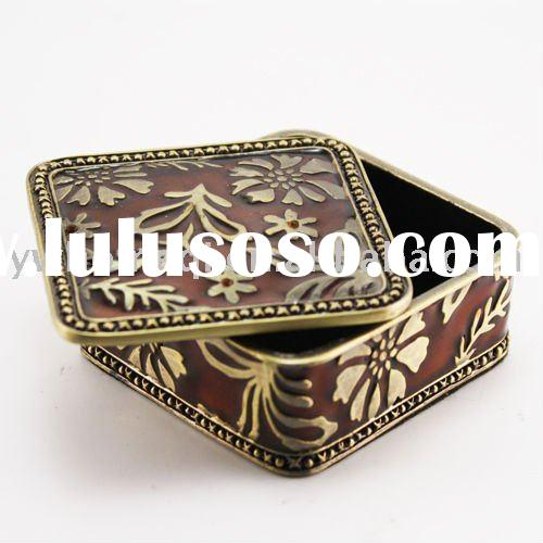 crystal metal jewelry box metal trinket box/promotion gift