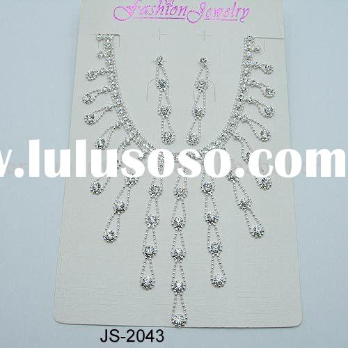 crystal necklace set/wedding jewelry set/bridal necklace&earrings/gorgeous two-piece suit jewelr