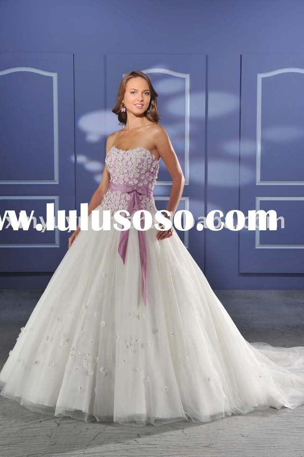 cute casual tulle wedding dress with grace ribbon BOW-023