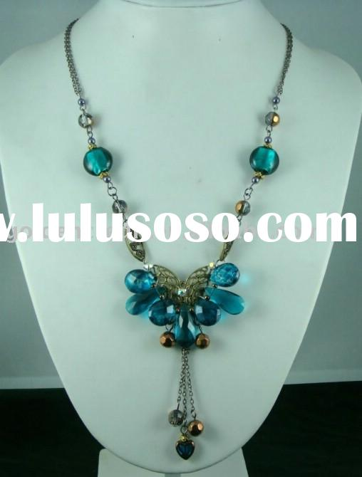 fashion alloy crystal necklace/ handmade necklace/ nice blue necklace