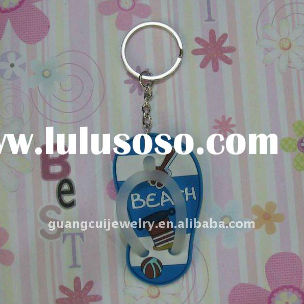fashion mini sandal keychain personalized key ring logo keyring 2d soft pvc keyring key chain lobste