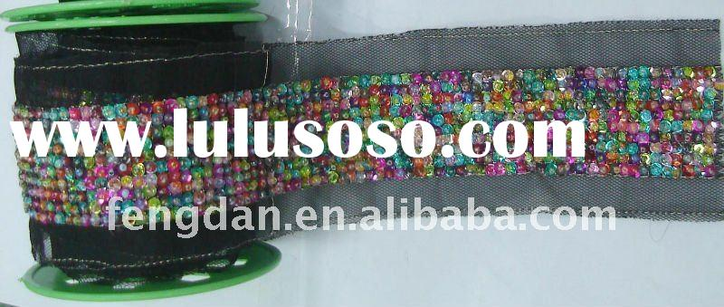 fashionable design of colorful beaded lace with black mesh