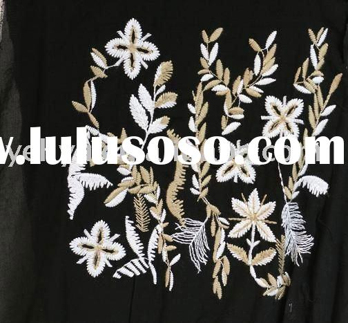 flower abaya embroidered fabric