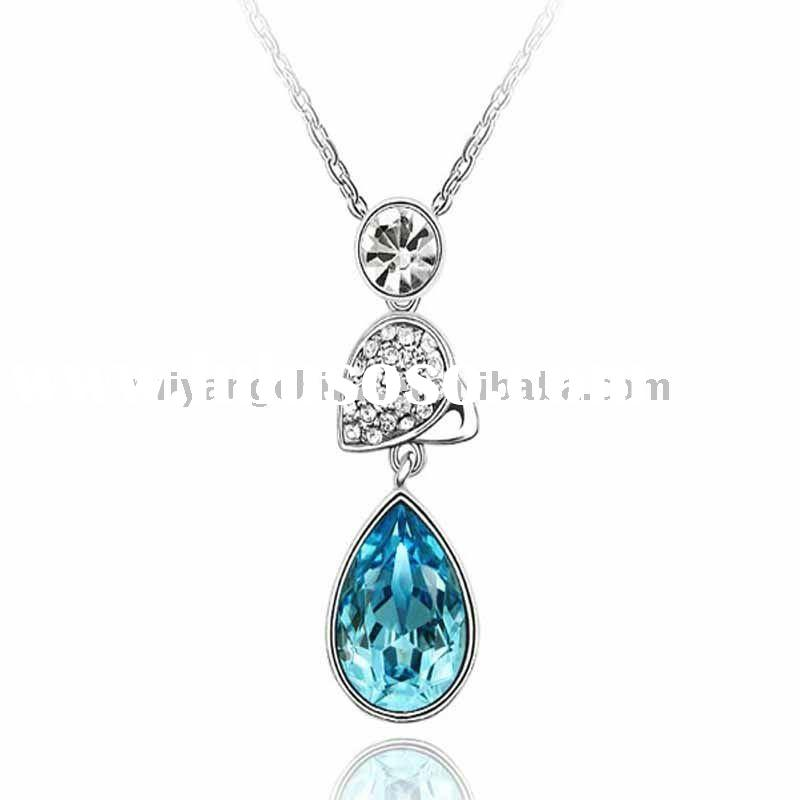 gift heart pendant crystal necklace crystal jewelry