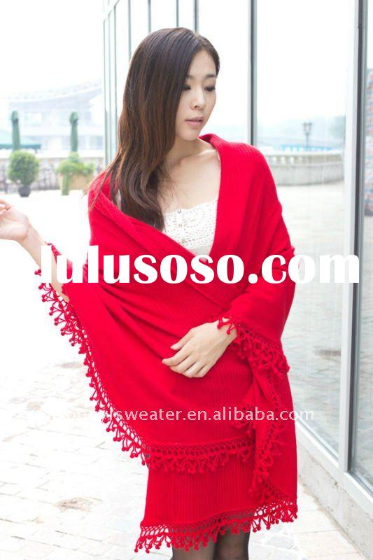 hand knitted cashmere/wool chinese red fashion poncho
