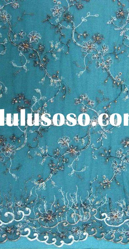 handmade beaded tulle lace fabric for dresses