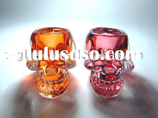 handmade press skull glass votive candle holder with different painting color