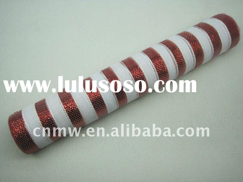 hot selling red and white metallic PP stripe mesh