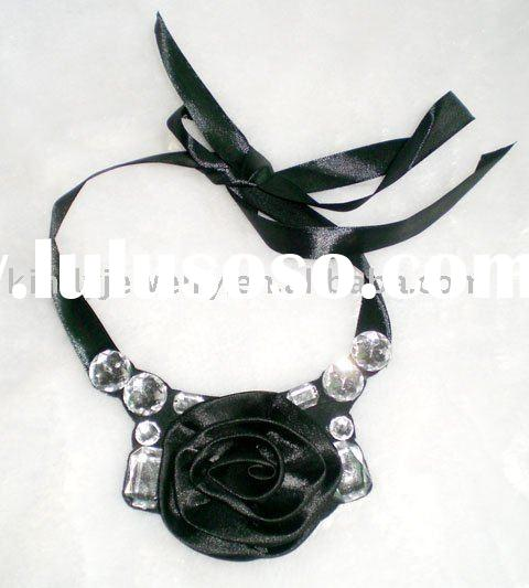 jewelry,satin ribbon fabric flower handmade necklace