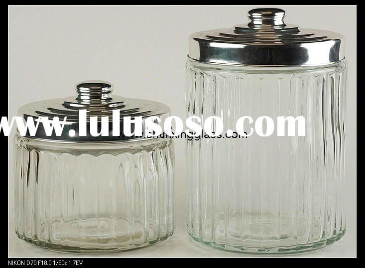 large clear glass food storage jar