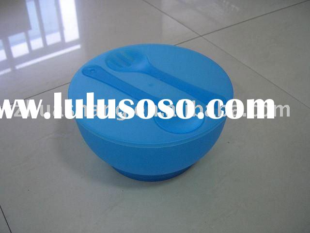large plastic salad bowl with fork and spoon