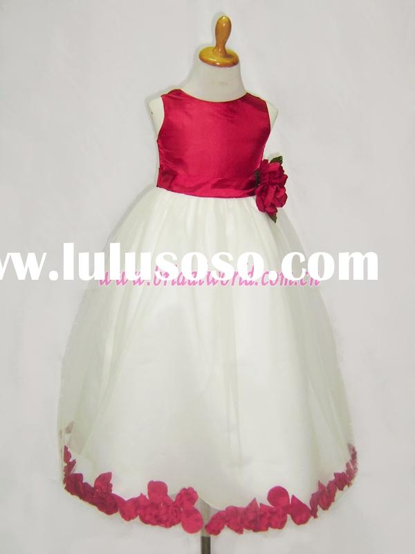 lovely red flower girl dresses decorated with petal