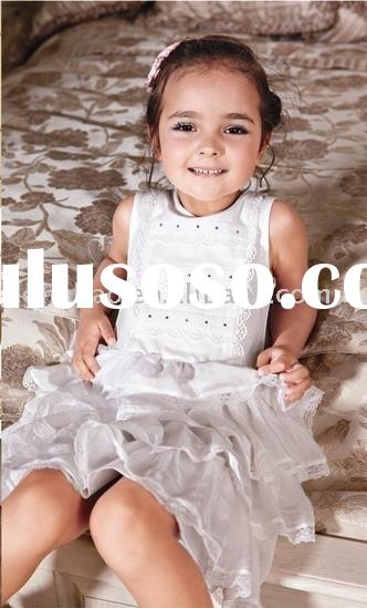 lovely tiered skirt children summer white embroidery cotton dress HOT SALE!