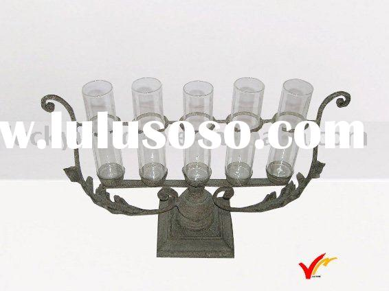 metal candle holder with glass tubes