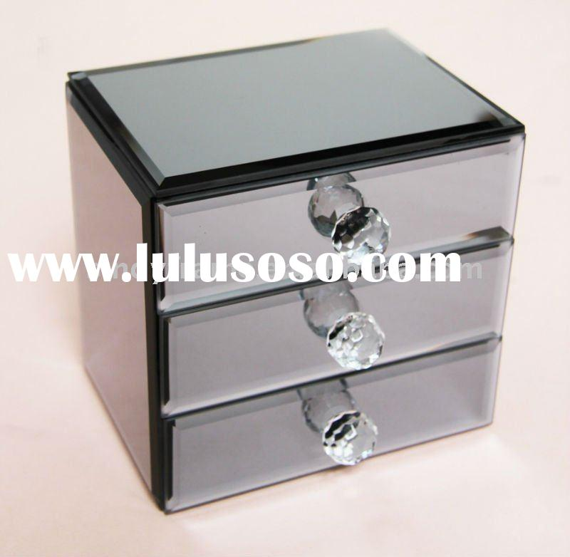 mirror glass jewelry box with 3 drawers,blue color,exclusive design for 2011