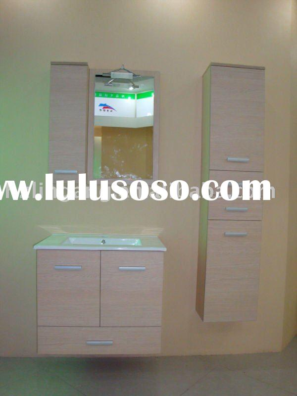 modern style MDF bathroom cabinet vanity with LED mirror light furniture