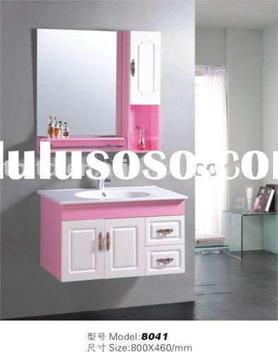 pink and white bathroom vanity cabinet