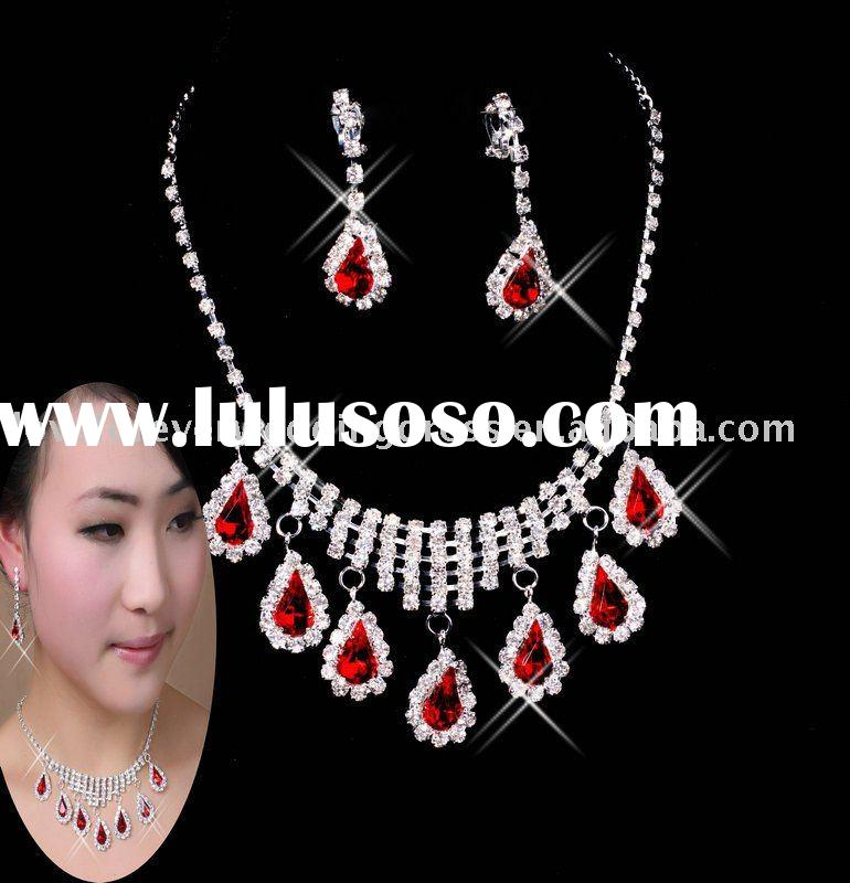 red crystal necklace earrings set 2011