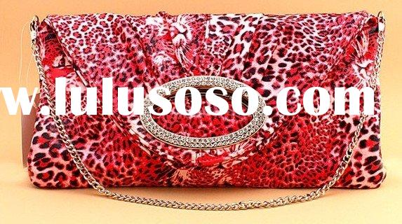 red leopard ladies' evening handbag