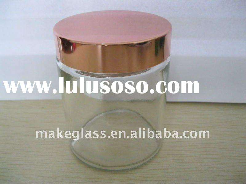round glass storage jar with beautiful copper color aluminium lid