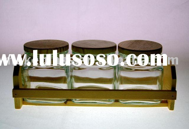 square glass food storage jar with wooden lid