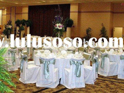 table cloth, fitted polyester chair cover and satin sash