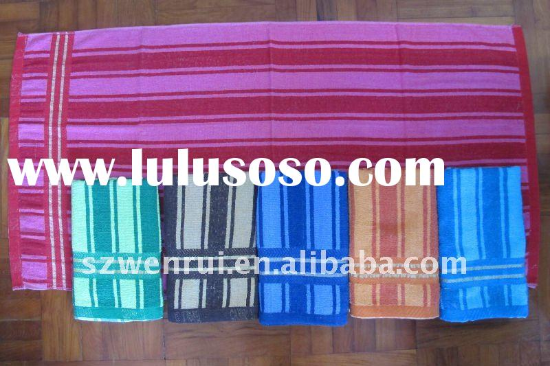 terry bath towel with cotton boarder