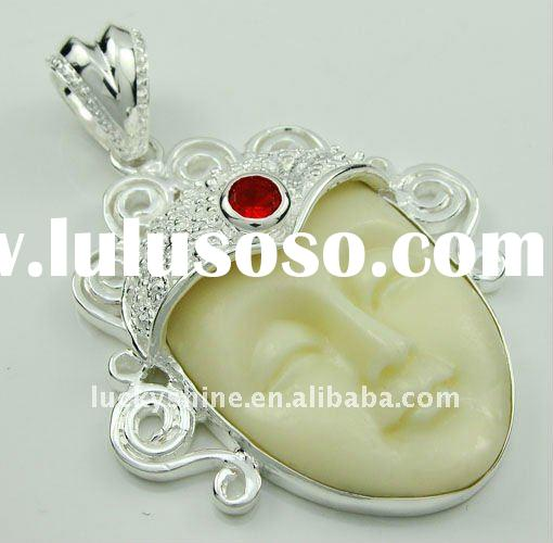 western silver pendant CARVED OX BONE FACE wholesale india fashion jewelry