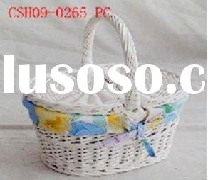 white wicker empty picnic basket shopping basket with lid