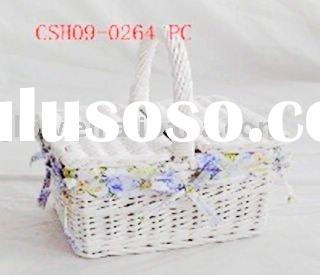 white wicker empty willow basket with lid