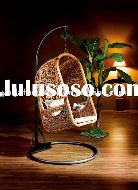 wooden outdoor furniture Natural Indonesia rattan hanging swing chair cane wicker