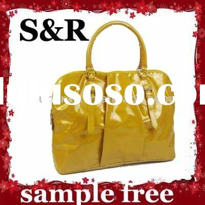 yellow sparkly sequinned fashion PU leather bag