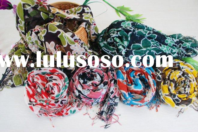 100%cotton flower scarf for wholesale