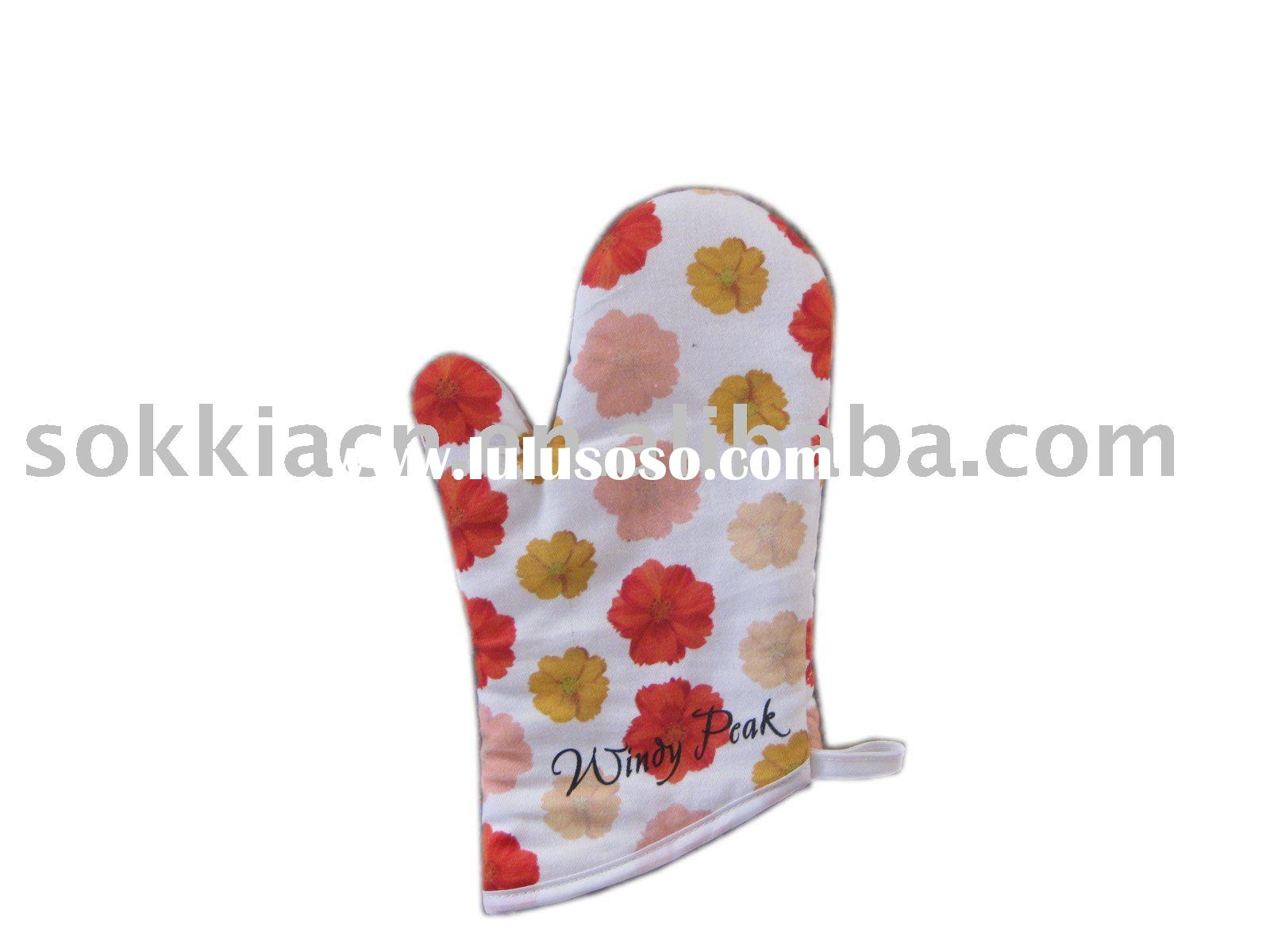 100% cotton printed microwave oven mitts
