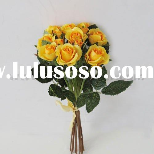 "10"" Artificial Yellow Rose Silk Flower Arrangement"