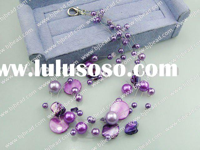 17.5 inches acrylic purple pearl shell necklace with lobster clasp