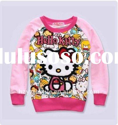 2011New style fashion design Hello kitty girls long sleeves children t-shirt child clothing kids wea