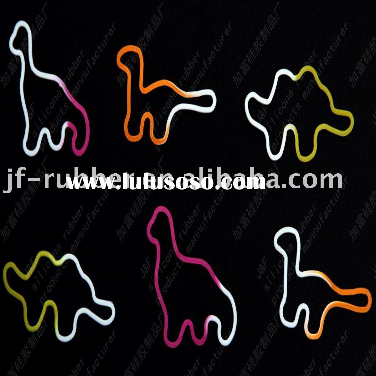 2011 dinosaur shape silicone rubber band rubber bungee