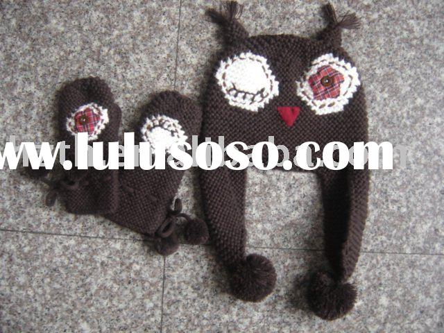 2011 funny animal knitted hat set for kids